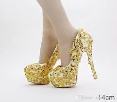 wedding shoes luxury gold lace applique cinderella shoes luxury bridal bridesmaid