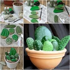 Garden Stone Craft - stunning diy stone cactus yard art painted rock cactus rock