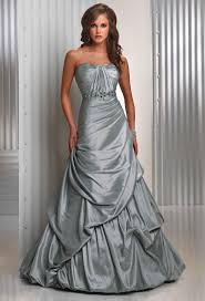 silver wedding dresses evening dresses silver shimmer taffeta strapless sleeveless floor