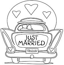 wedding coloring pages clipart books married