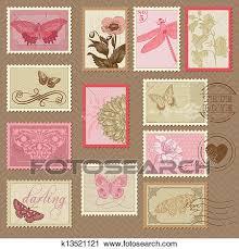timbre poste mariage clipart retro timbres poste à papillons et fleurs