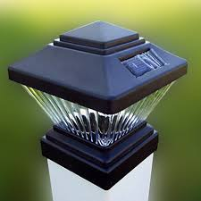 solar post cap light black diamond shaped