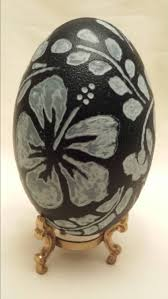 carved emu egg hibiscus flower home decor unique handmade gift
