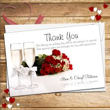 10 personalised chagne flutes wedding day thank you cards n155