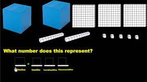 representing decimals using base ten blocks youtube