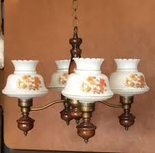 Hurricane Lamp Chandelier Vintage Mid Century Wooden 4 Arm Hanging Hurricane Ceiling Light