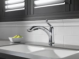 Single Lever Pull Out Kitchen Faucet by Delta 4353 Dst Linden Single Handle Pull Out Kitchen Faucet
