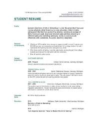 sample resume for first year college student sample resume first