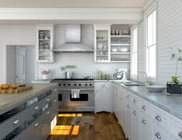 kitchen white paint kitchen cabient with stainless steel vent