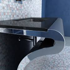 modern chrome bathroom vanity with glass top and undermount sink
