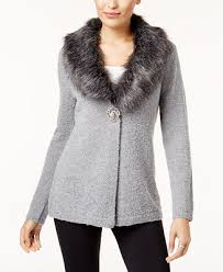 fur sweater jm collection faux fur collar brooch cardigan created for macy s