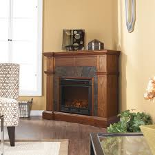 traditional design for teak corner electric fireplace with black