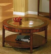 Hardwood Coffee Table Round Wood Coffee Table With Glass Top Foter
