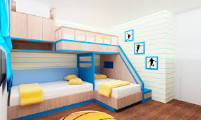 exquisite small kids bedroom design with cream finish maple triple