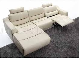 Contemporary Reclining Sectional Sofa White Leather 2143 Modern Reclining Sectional Sofa By Esf
