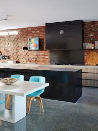 Fake Exposed Brick Wall Fake Brick Wall Kitchen Contemporary With Inner City Blue Dining