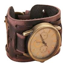 bracelet cuff leather images 2017 new style retro punk rock brown big wide leather bracelet jpg