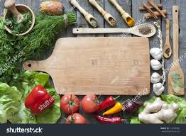 Cooking Board by Vegetables Spices Vintage Border Empty Cutting Stock Photo