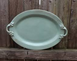ceramic serving platter green platter etsy