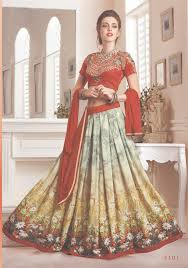 beautiful fancy lehenga in red and green color combination with