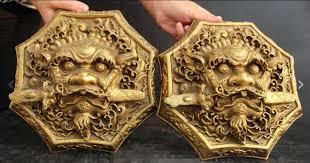 foo dog door knocker 9 bronze foo dog lion bite sword door
