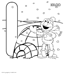 coloring page elmo near igloo and the letter i