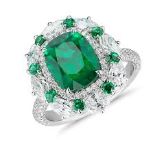diamond cocktail rings emerald and diamond cocktail ring in 18k white gold 3 71 ct
