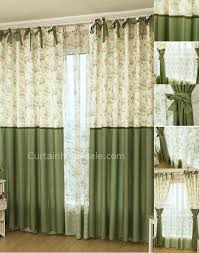 Side Window Curtains Pastoral Flowers And Leaf Printed Eco Friendly Door Side Window