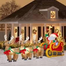 16 airblown santa in sleigh with three