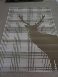 Brown Tartan Rug Brown Beige Stag Deer Tartan Check Soft Short Pile Large Rug