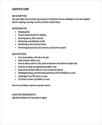 Sample Resume For Shipping And Receiving by Logistics Clerk Job Description Bj U0027s Wholesale Club Bakery Clerk