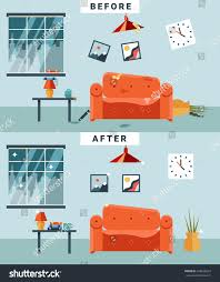 dirty clean room before after cleaning stock vector 328838222