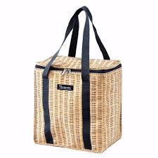 faux wicker picnic cooler square tote bag cece u0026 me home and gifts