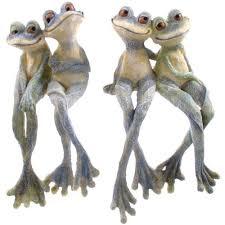 garden ornament pair of legged garden frogs figure