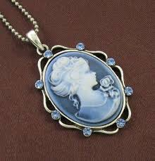 cameo necklace pendant images Antique vtg style blue sapphire rhinestone design cameo necklace jpg