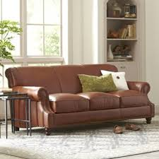 Leather And Tapestry Sofa Overstuffed Couch Wayfair