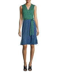 diane von furstenberg bethanie diagonal dots flounce wrap dress green