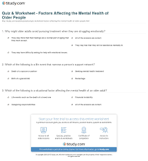 Mental Health Worksheets For Adults Quiz Worksheet Factors Affecting The Mental Health Of