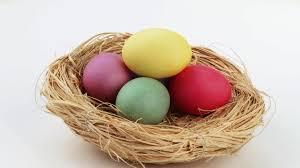 easter egg basket coloured egg basket easter hd stock 494 256 091
