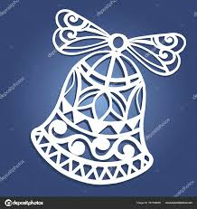 laser cut paper christmas bell decoration vector design merry