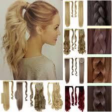 4 Piece Clip In Hair Extensions by Clip In Ponytail Pony Tail Hair Extension Wrap On Hair Piece Wavy