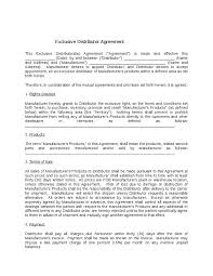 reseller contract template product distribution agreement template
