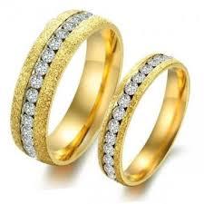 golden couple rings images Single row diamond titanium steel couple rings golden wedding jpg