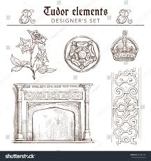 tudor period design elements set set stock vector 334542164