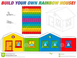 printable model house template paper model house template rainbow colors stock vector