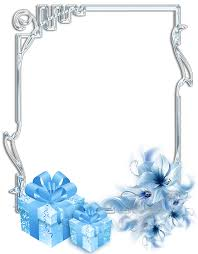 Silver And Blue Presents Christmas Frame Clip Art Holiday