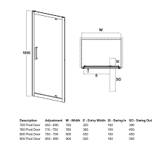 700 to 900mm walney pivot shower door 125 at cheap suites
