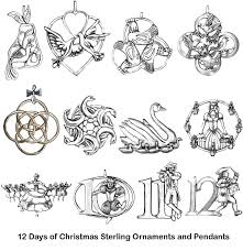 12 days of sterling ornaments pendants complete set of