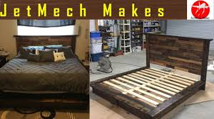 how to make a rustic bed with pallet wood headboard youtube