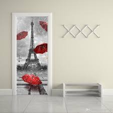 Eiffel Tower Wallpaper For Walls The Eiffel Tower Door Stickers 3d Pvc Self Adhesive Wallpaper